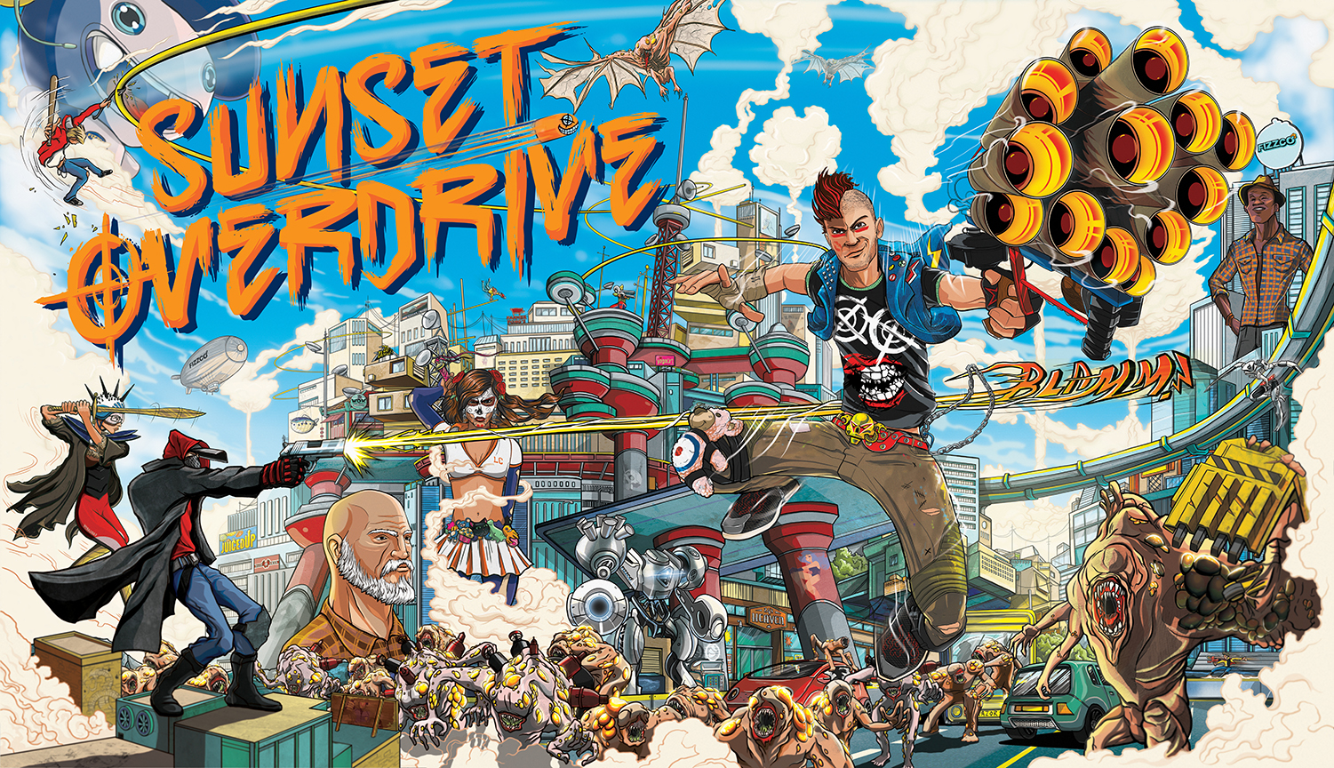 sunset overdrive box art by ilovedust insomniac games sunset overdrive keyart horiz rgb final
