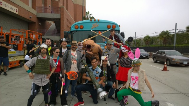 The Sunset Overdrive team dresses up to storm the green carpet at the Xbox E3 Media Briefing in 2014