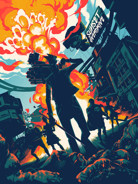 We collaborated with Mondo for their first ever video-game print. Celebrating Sunset Overdrive, the print was created by UK-Based Matt Taylor, and will be sold at San Diego Comic Con.